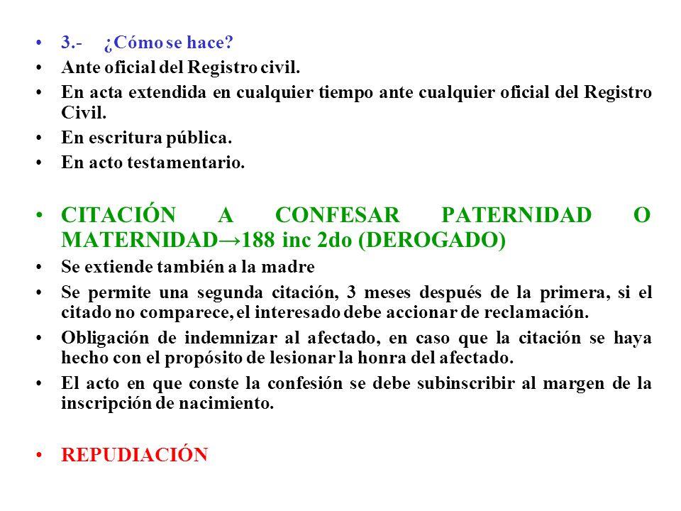 CITACIÓN A CONFESAR PATERNIDAD O MATERNIDAD→188 inc 2do (DEROGADO)