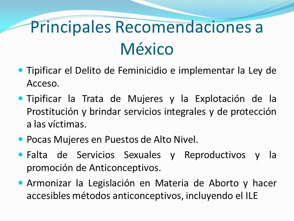 Principales Recomendaciones a México