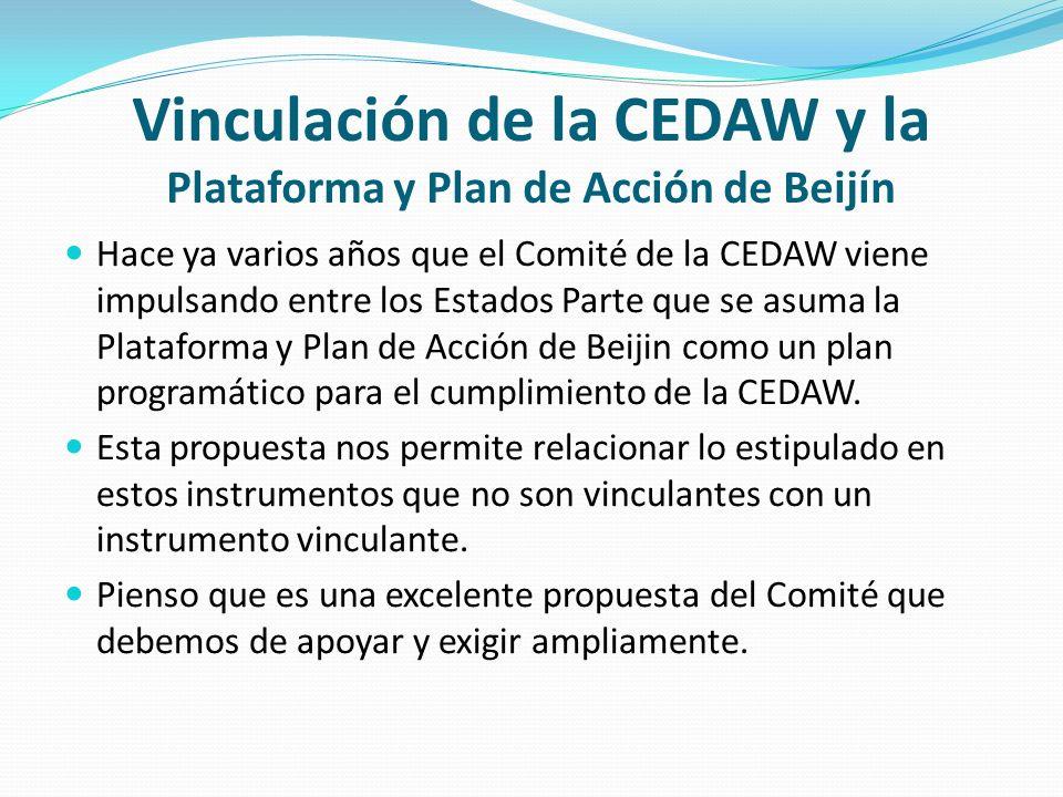 Vinculación de la CEDAW y la Plataforma y Plan de Acción de Beijín