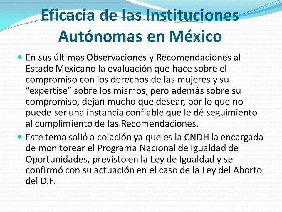 Eficacia de las Instituciones Autónomas en México