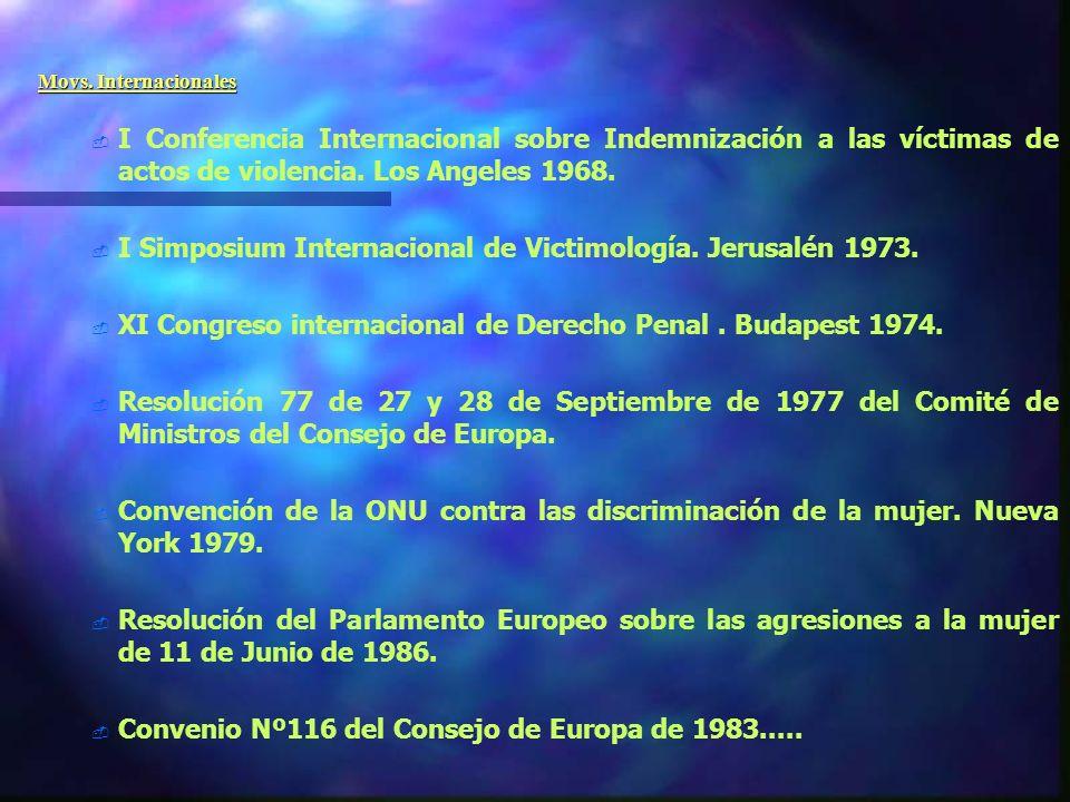 I Simposium Internacional de Victimología. Jerusalén 1973.
