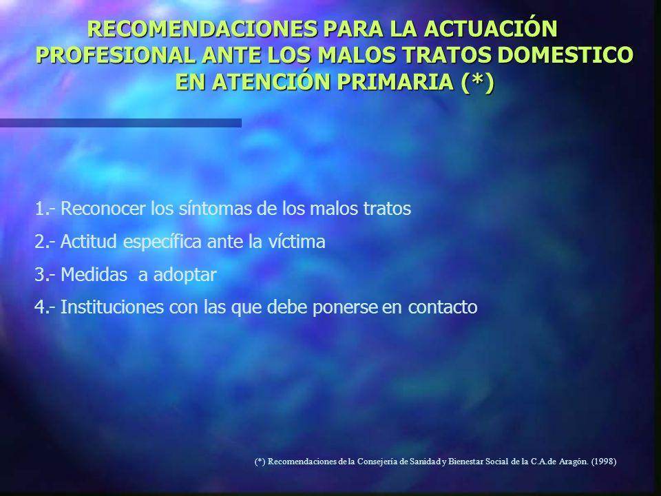 RECOMENDACIONES PARA LA ACTUACIÓN PROFESIONAL ANTE LOS MALOS TRATOS DOMESTICO EN ATENCIÓN PRIMARIA (*)