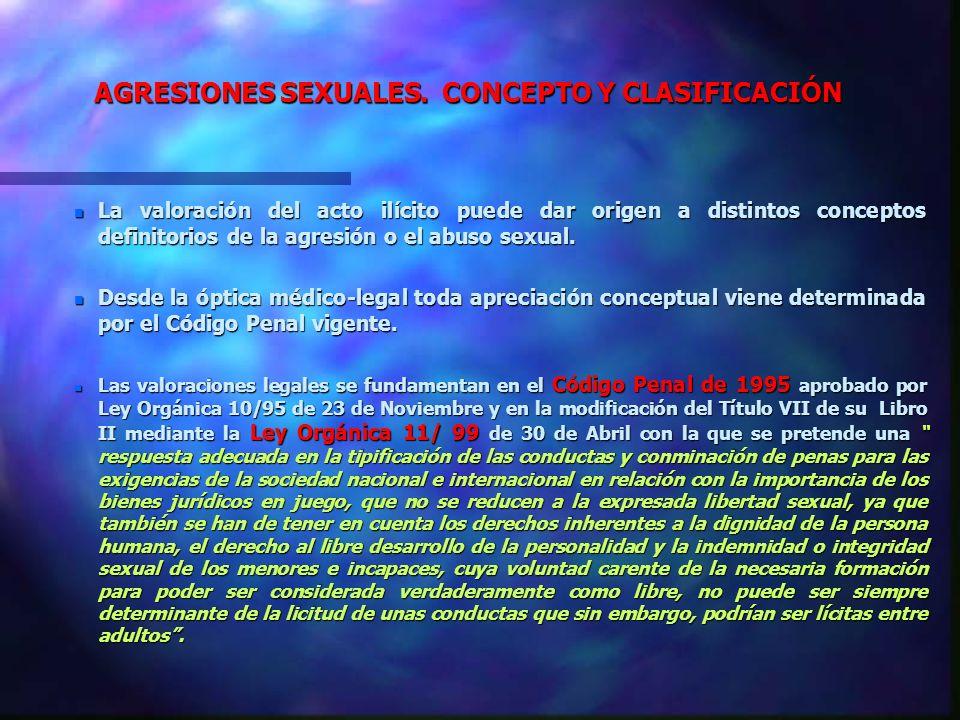 AGRESIONES SEXUALES. CONCEPTO Y CLASIFICACIÓN