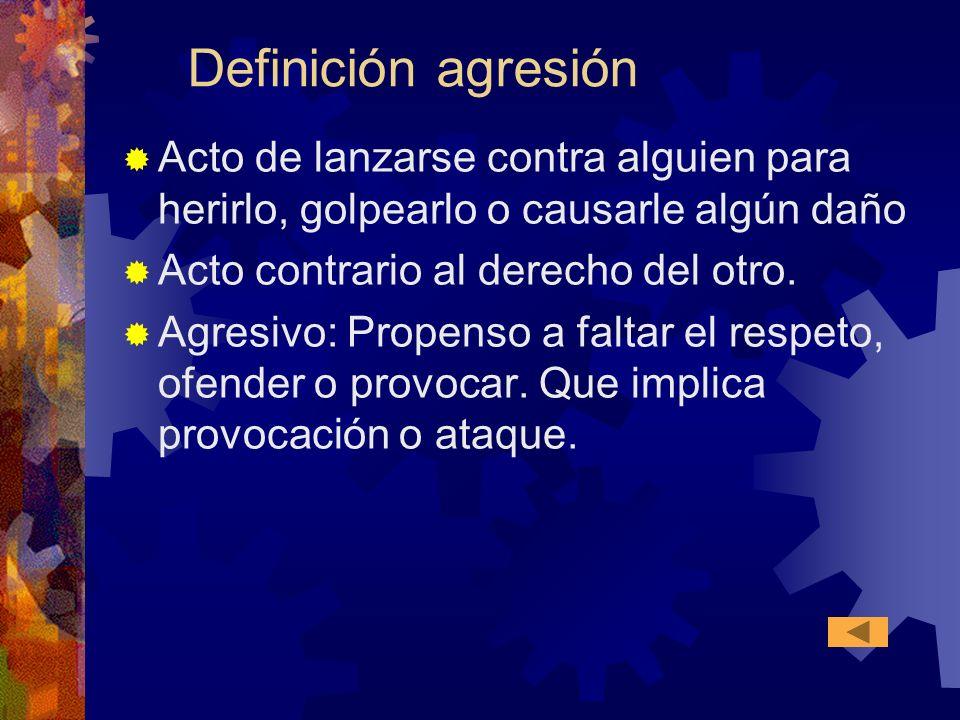 Definición agresión Acto de lanzarse contra alguien para herirlo, golpearlo o causarle algún daño. Acto contrario al derecho del otro.