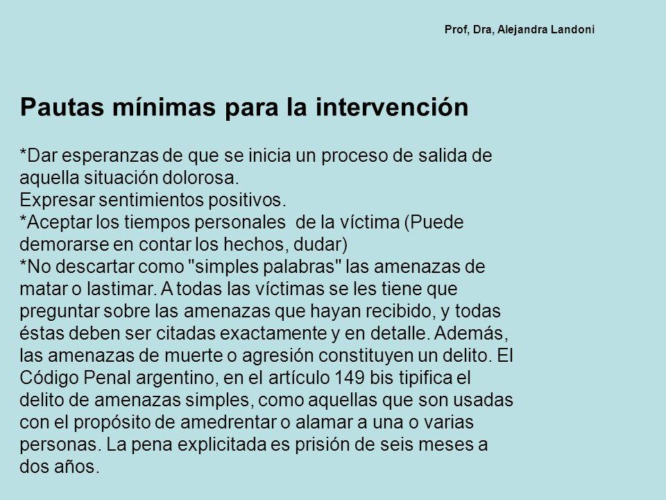 Pautas mínimas para la intervención
