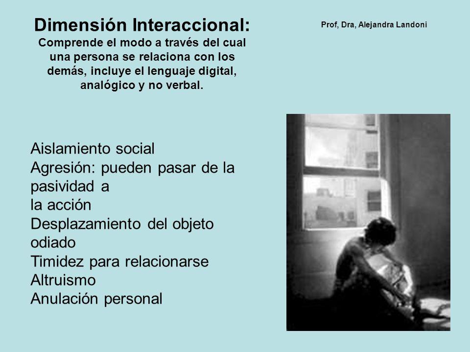 Dimensión Interaccional: Comprende el modo a través del cual una persona se relaciona con los demás, incluye el lenguaje digital, analógico y no verbal.