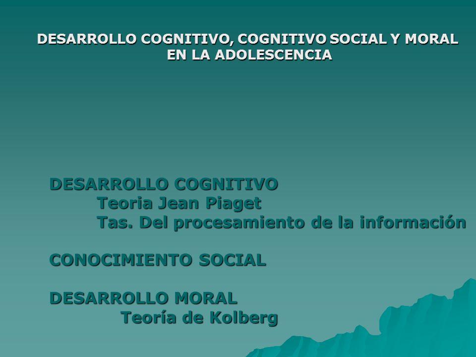 DESARROLLO COGNITIVO, COGNITIVO SOCIAL Y MORAL