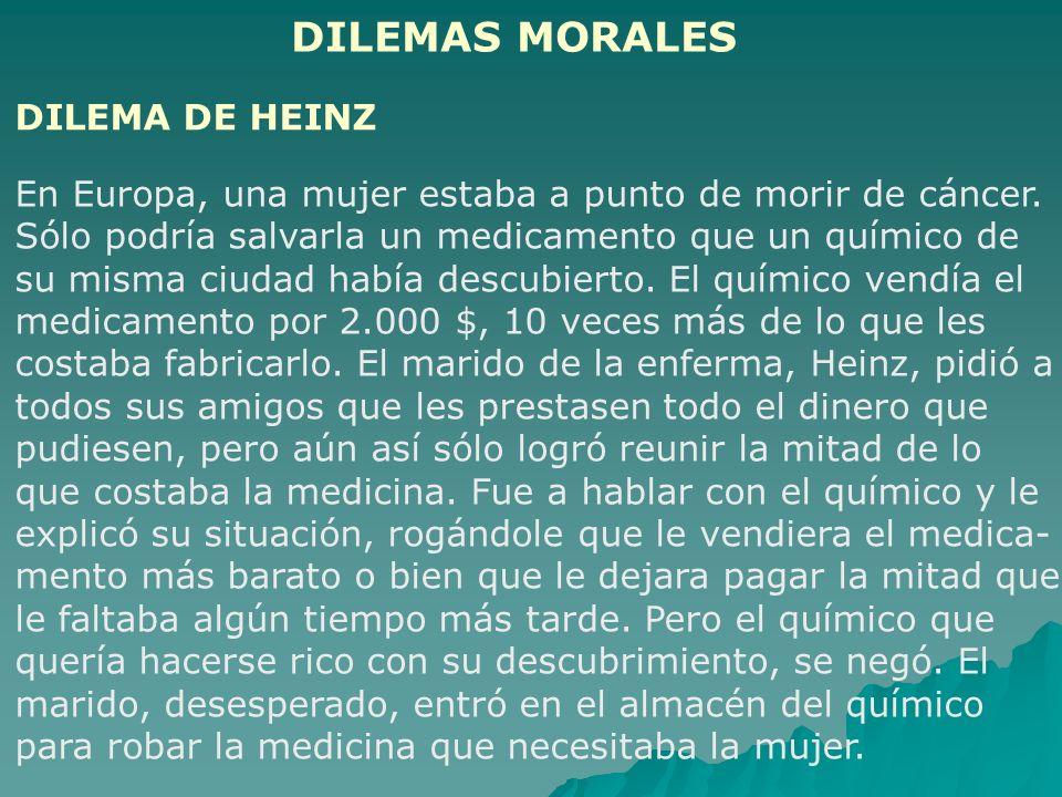 DILEMAS MORALES DILEMA DE HEINZ