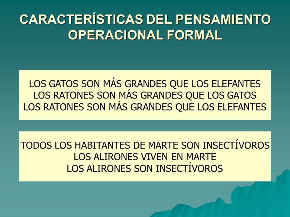 CARACTERÍSTICAS DEL PENSAMIENTO OPERACIONAL FORMAL