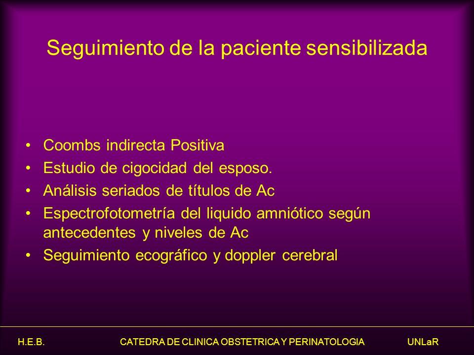 Seguimiento de la paciente sensibilizada