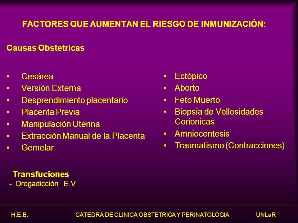 FACTORES QUE AUMENTAN EL RIESGO DE INMUNIZACIÓN: