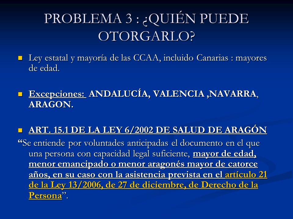 PROBLEMA 3 : ¿QUIÉN PUEDE OTORGARLO