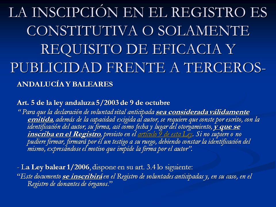 LA INSCIPCIÓN EN EL REGISTRO ES CONSTITUTIVA O SOLAMENTE REQUISITO DE EFICACIA Y PUBLICIDAD FRENTE A TERCEROS-