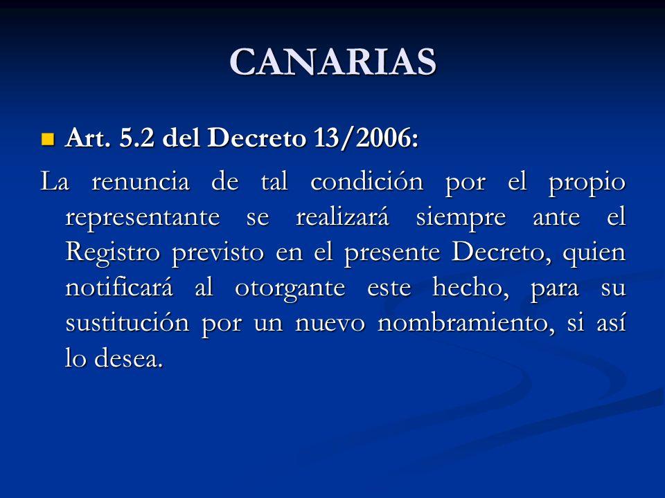 CANARIAS Art. 5.2 del Decreto 13/2006: