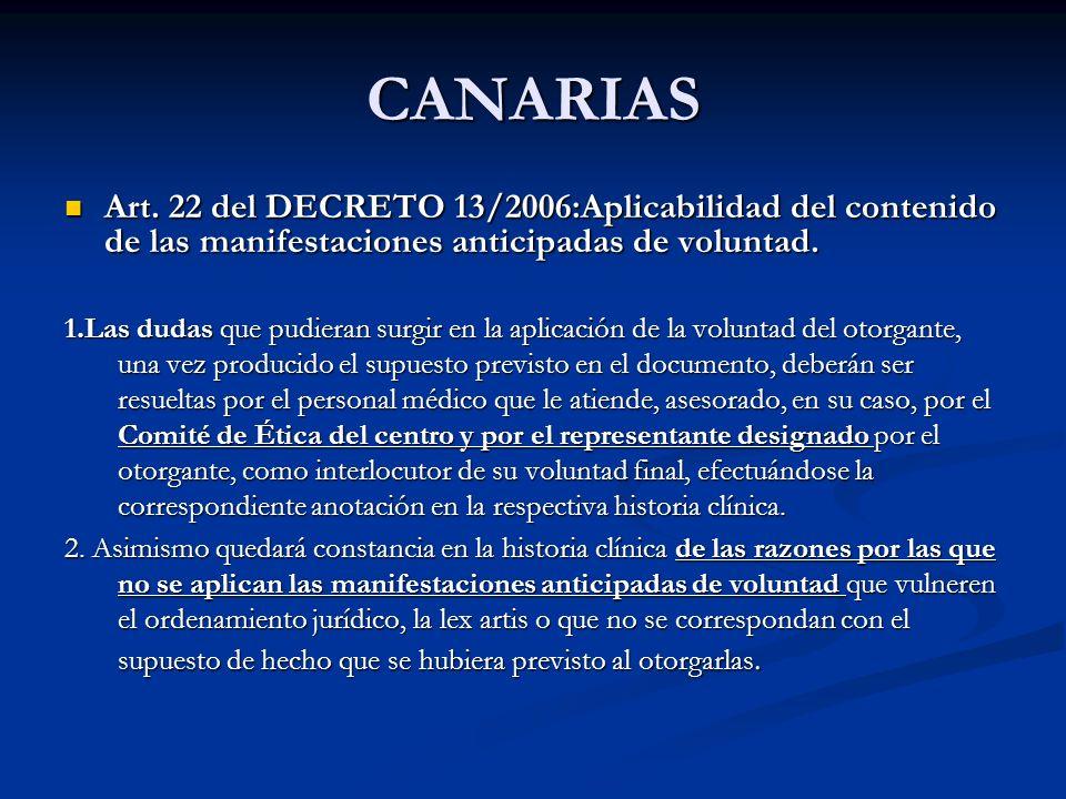 CANARIAS Art. 22 del DECRETO 13/2006:Aplicabilidad del contenido de las manifestaciones anticipadas de voluntad.