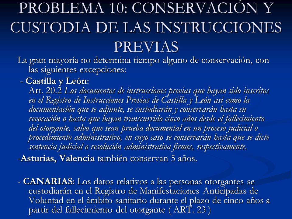 PROBLEMA 10: CONSERVACIÓN Y CUSTODIA DE LAS INSTRUCCIONES PREVIAS