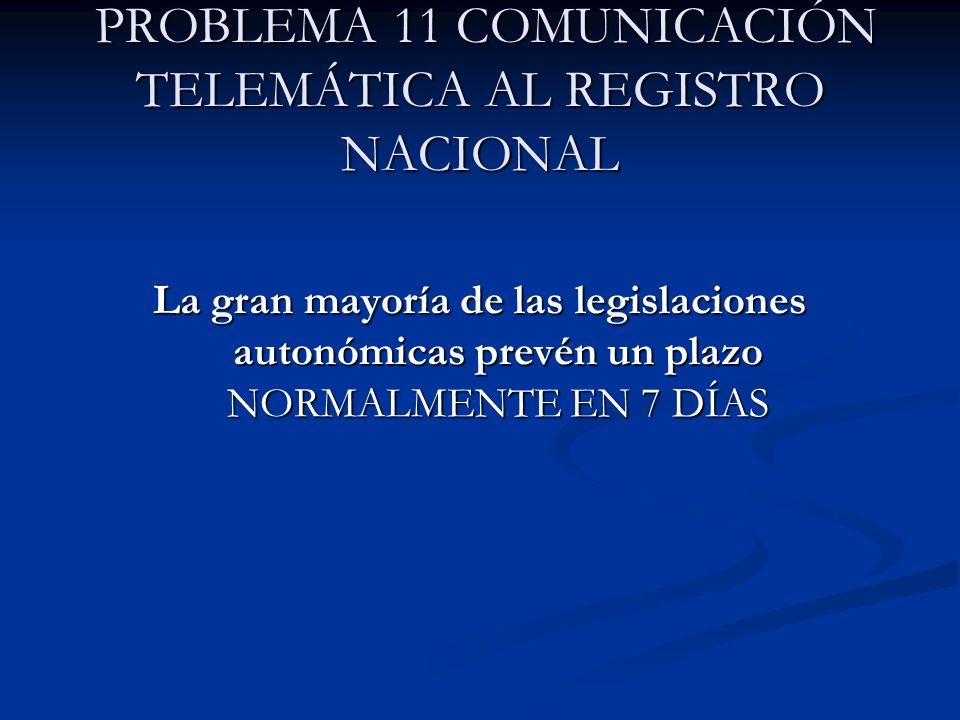 PROBLEMA 11 COMUNICACIÓN TELEMÁTICA AL REGISTRO NACIONAL