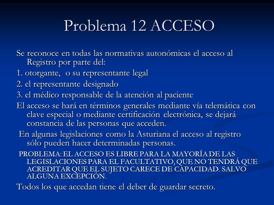 Problema 12 ACCESO Se reconoce en todas las normativas autonómicas el acceso al Registro por parte del: