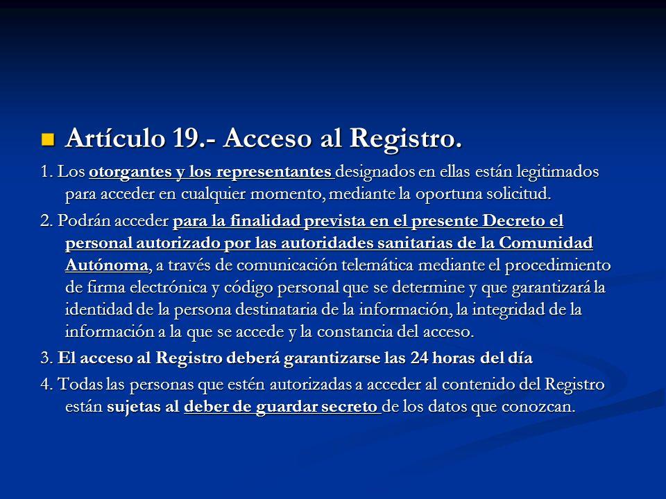 Artículo 19.- Acceso al Registro.