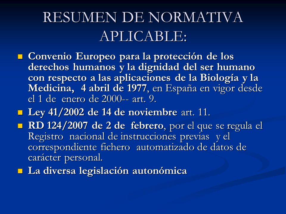RESUMEN DE NORMATIVA APLICABLE: