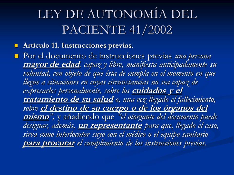 LEY DE AUTONOMÍA DEL PACIENTE 41/2002