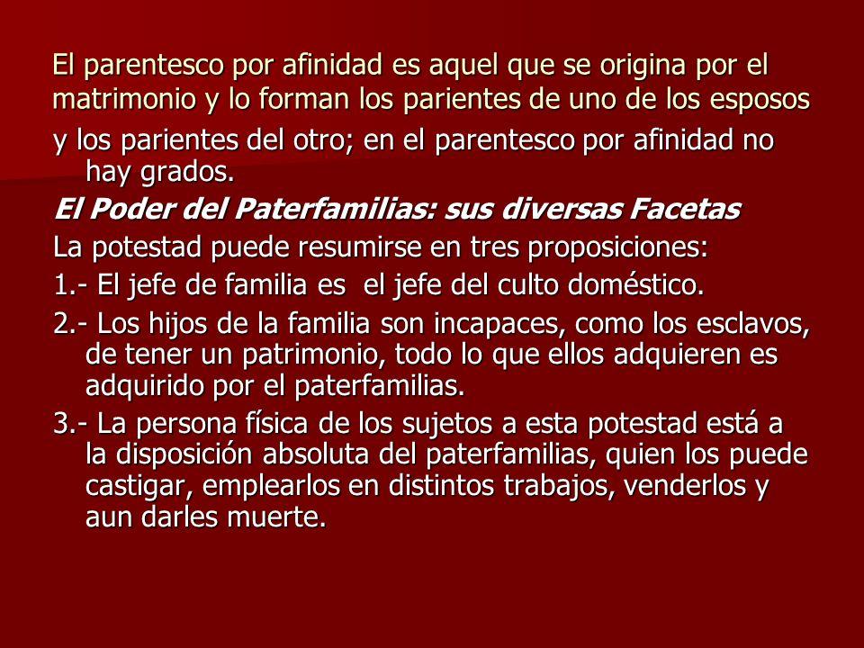 El parentesco por afinidad es aquel que se origina por el matrimonio y lo forman los parientes de uno de los esposos