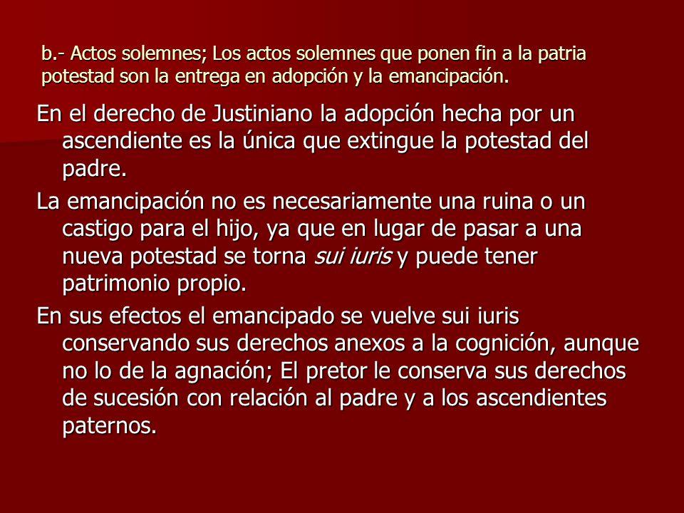 b.- Actos solemnes; Los actos solemnes que ponen fin a la patria potestad son la entrega en adopción y la emancipación.