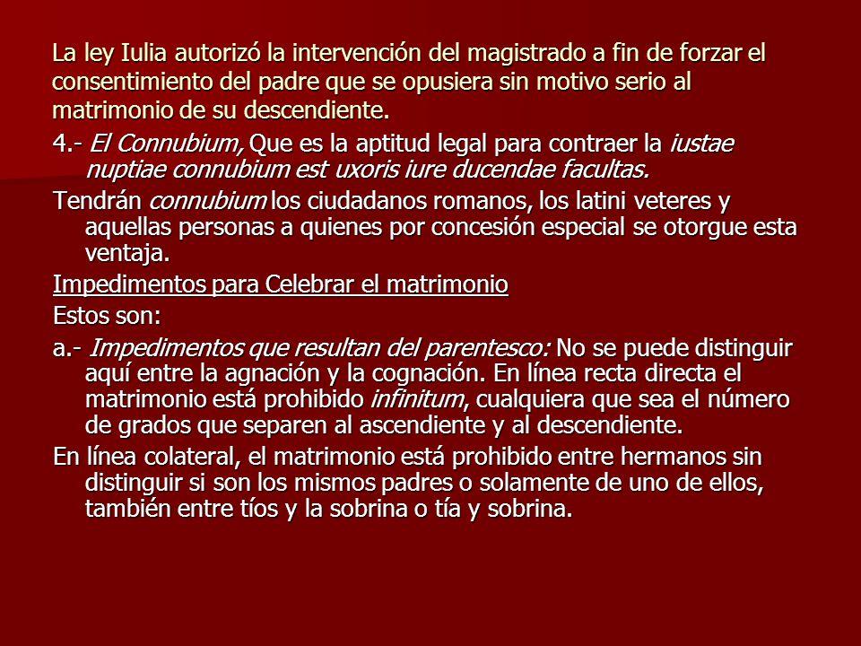 La ley Iulia autorizó la intervención del magistrado a fin de forzar el consentimiento del padre que se opusiera sin motivo serio al matrimonio de su descendiente.