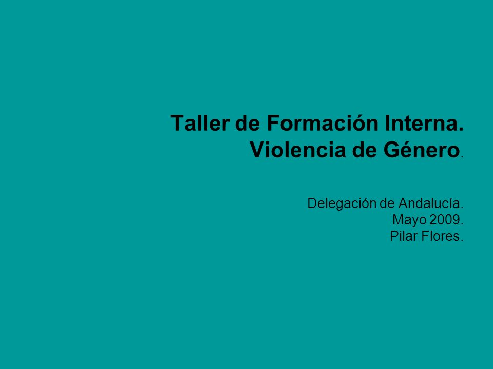 Taller de Formación Interna. Violencia de Género