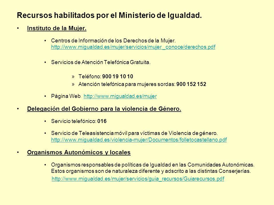 Recursos habilitados por el Ministerio de Igualdad.