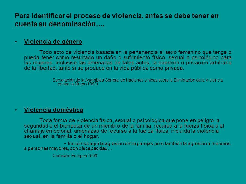 Para identificar el proceso de violencia, antes se debe tener en cuenta su denominación….