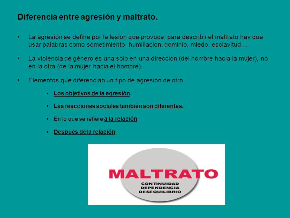 Diferencia entre agresión y maltrato.
