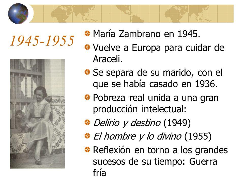 1945-1955 María Zambrano en 1945. Vuelve a Europa para cuidar de Araceli. Se separa de su marido, con el que se había casado en 1936.