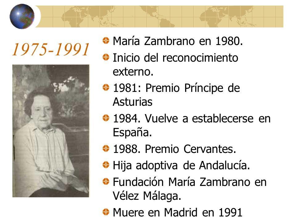1975-1991 María Zambrano en 1980. Inicio del reconocimiento externo.