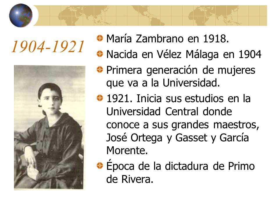 1904-1921 María Zambrano en 1918. Nacida en Vélez Málaga en 1904