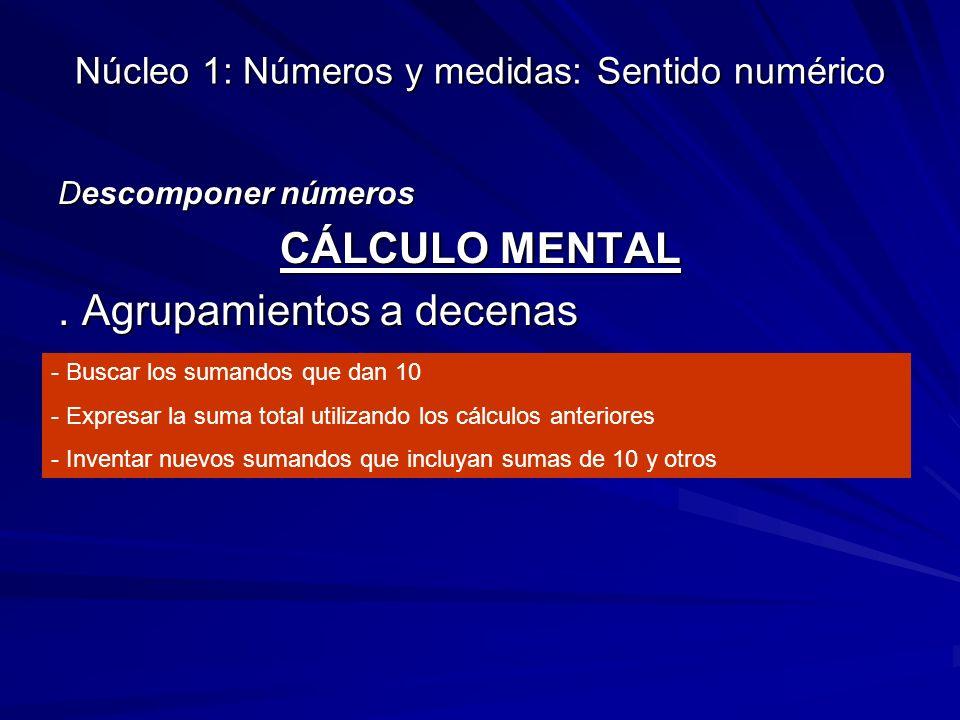 Núcleo 1: Números y medidas: Sentido numérico