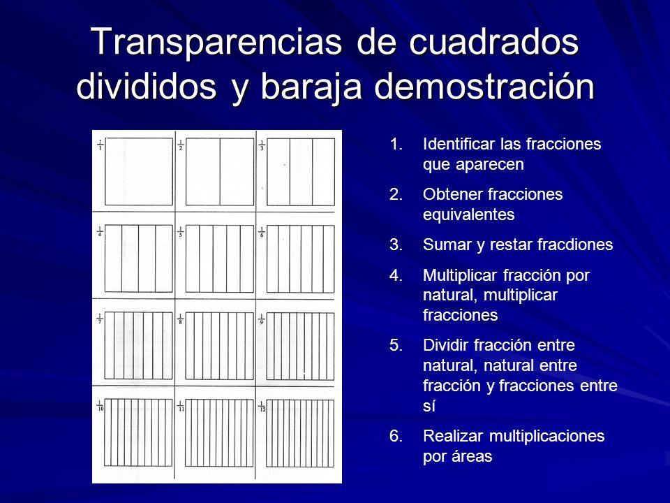 Transparencias de cuadrados divididos y baraja demostración