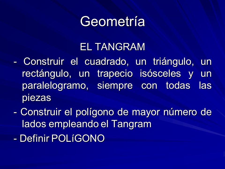 Geometría EL TANGRAM. - Construir el cuadrado, un triángulo, un rectángulo, un trapecio isósceles y un paralelogramo, siempre con todas las piezas.