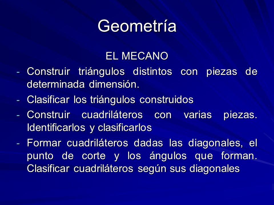 Geometría EL MECANO. Construir triángulos distintos con piezas de determinada dimensión. Clasificar los triángulos construidos.