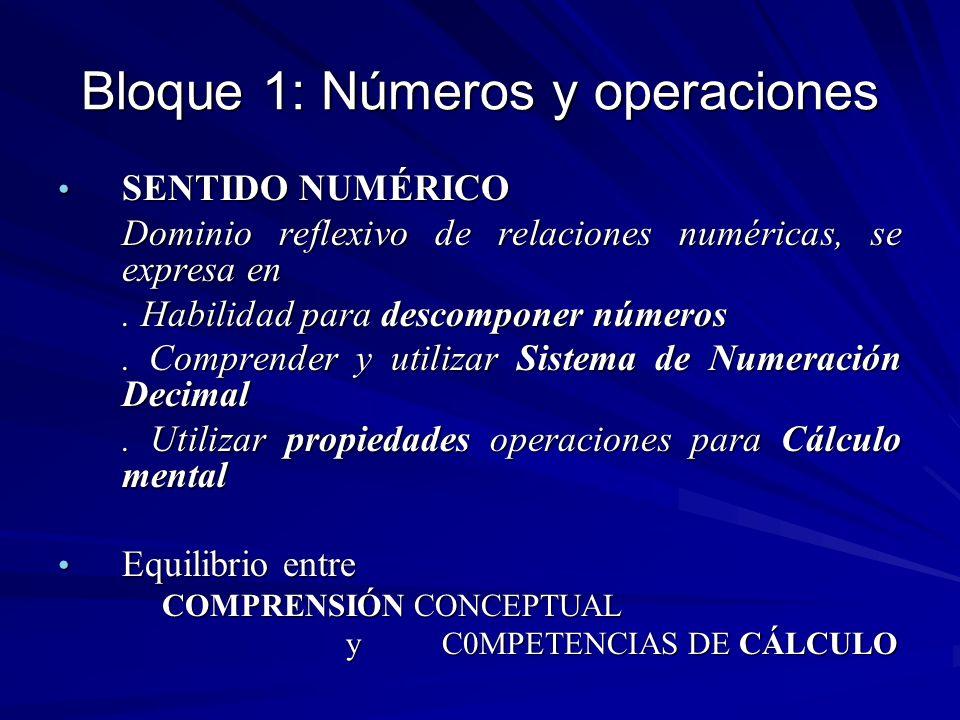 Bloque 1: Números y operaciones