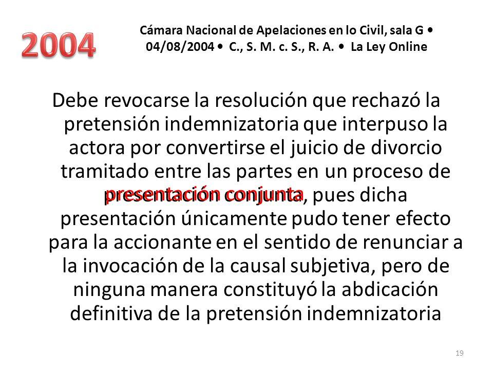 2004 Cámara Nacional de Apelaciones en lo Civil, sala G • 04/08/2004 • C., S. M. c. S., R. A. • La Ley Online.