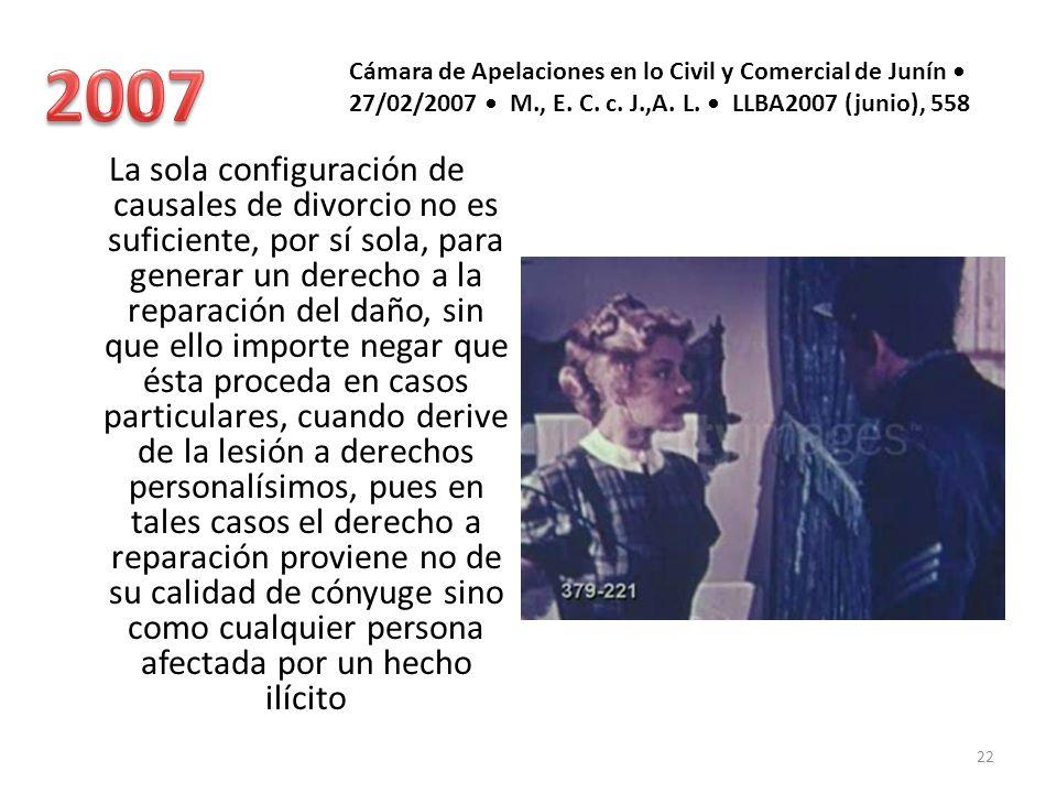 2007 Cámara de Apelaciones en lo Civil y Comercial de Junín • 27/02/2007 • M., E. C. c. J.,A. L. • LLBA2007 (junio), 558.