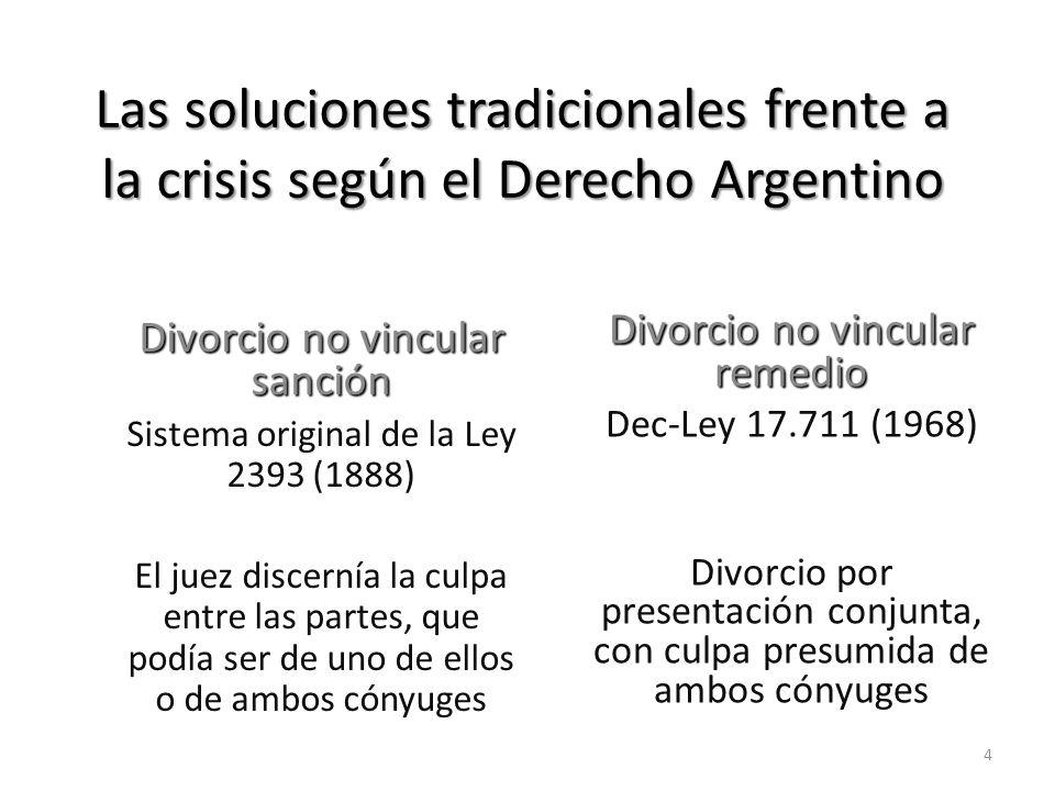 Las soluciones tradicionales frente a la crisis según el Derecho Argentino