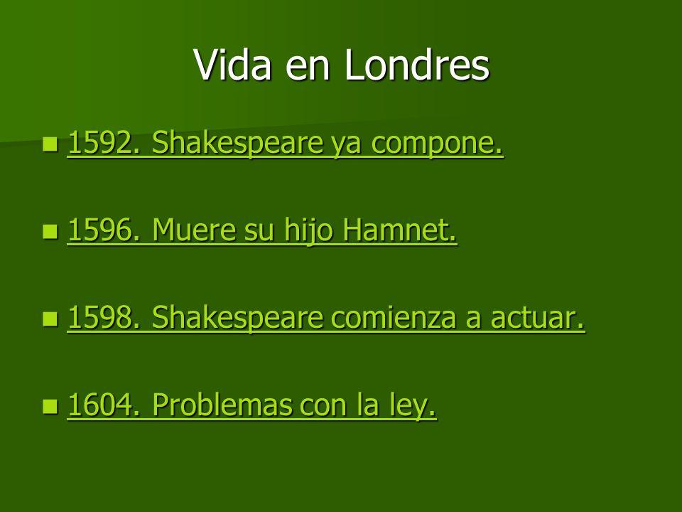 Vida en Londres 1592. Shakespeare ya compone.