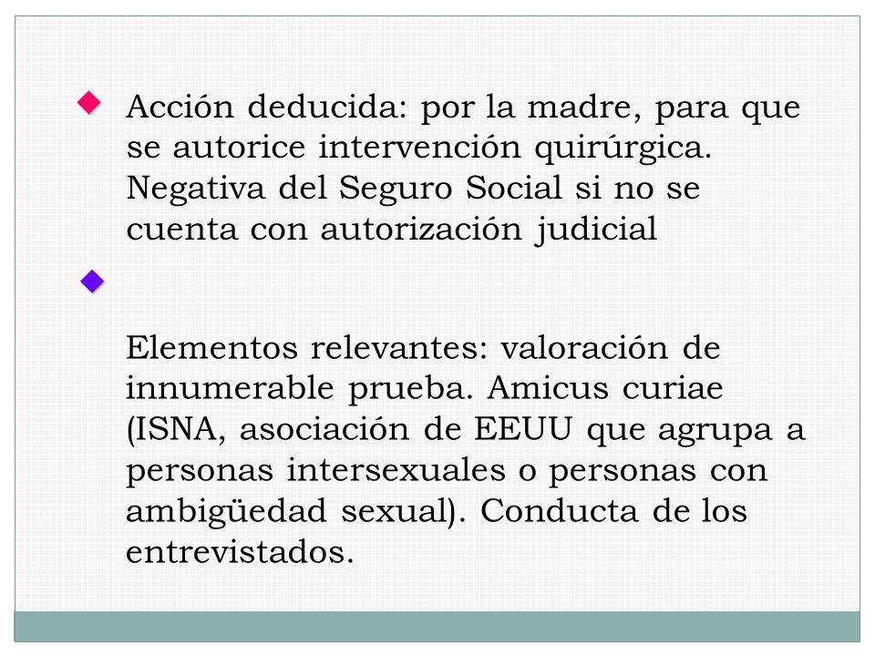 Acción deducida: por la madre, para que se autorice intervención quirúrgica. Negativa del Seguro Social si no se cuenta con autorización judicial