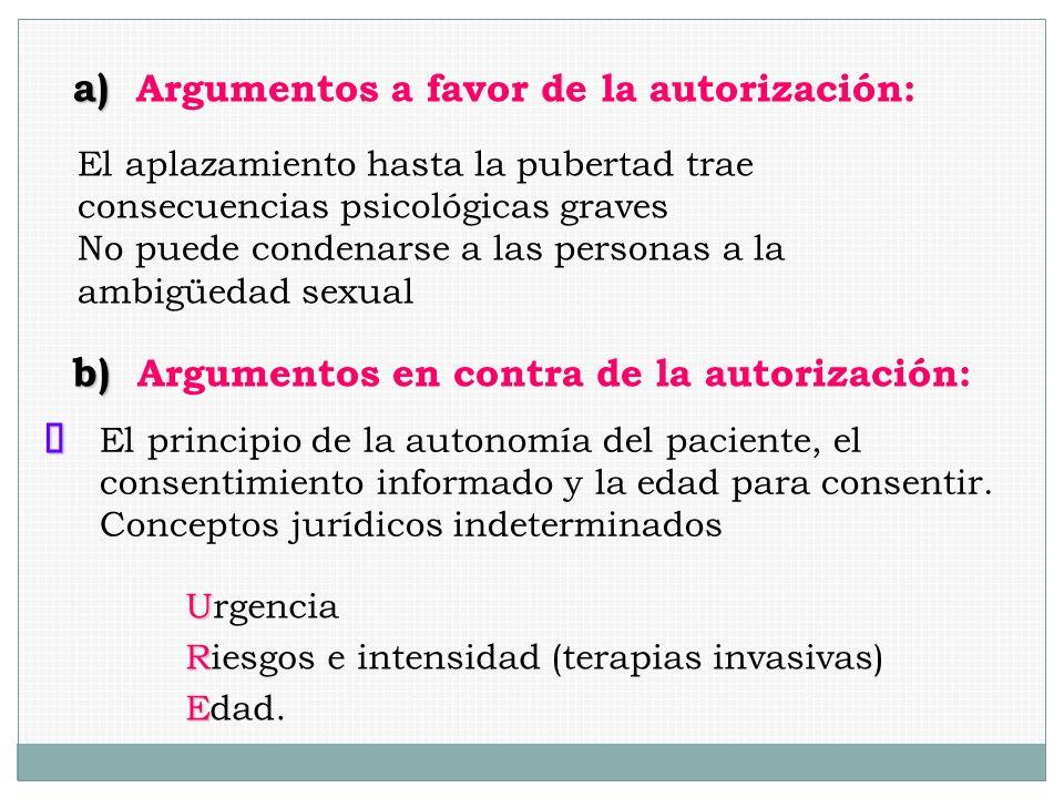 a) Argumentos a favor de la autorización:
