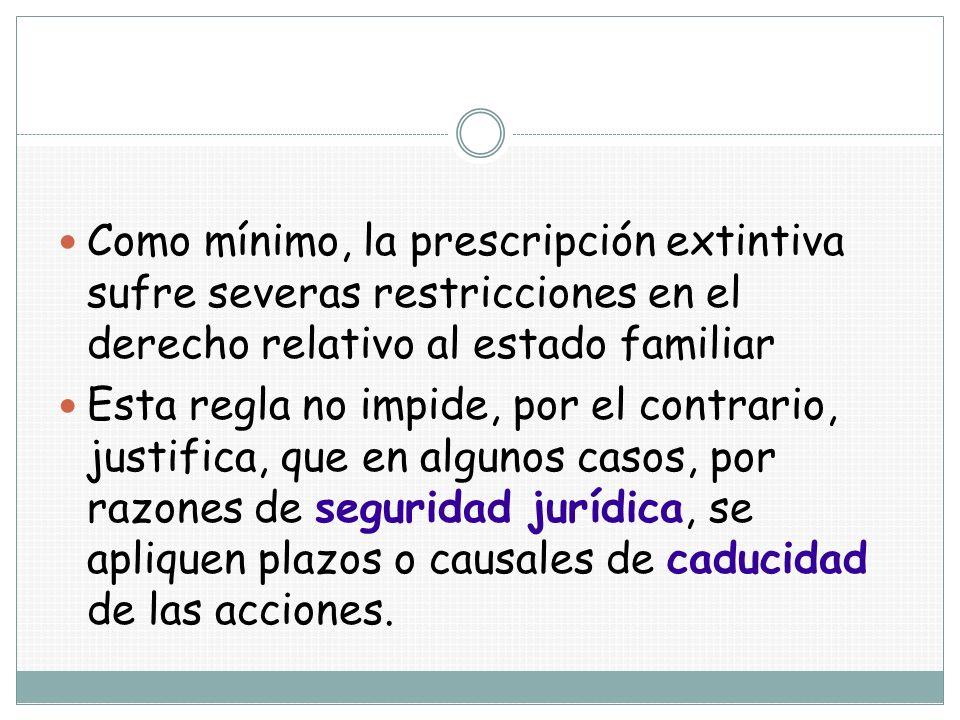 Como mínimo, la prescripción extintiva sufre severas restricciones en el derecho relativo al estado familiar