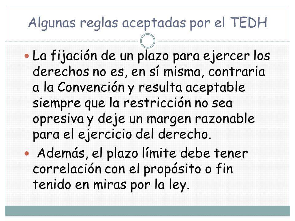Algunas reglas aceptadas por el TEDH