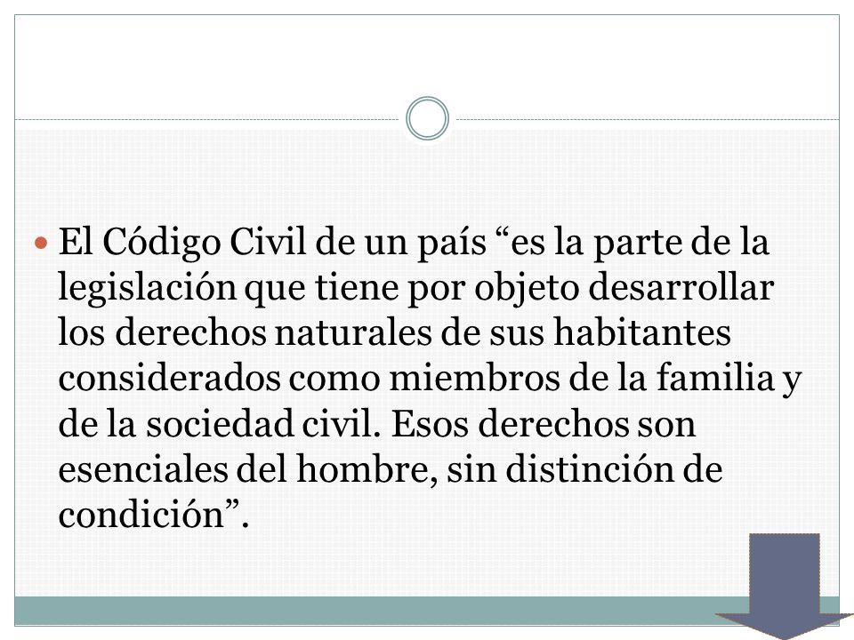 El Código Civil de un país es la parte de la legislación que tiene por objeto desarrollar los derechos naturales de sus habitantes considerados como miembros de la familia y de la sociedad civil.