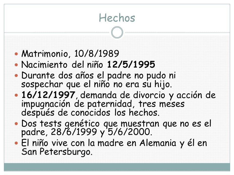 Hechos Matrimonio, 10/8/1989 Nacimiento del niño 12/5/1995